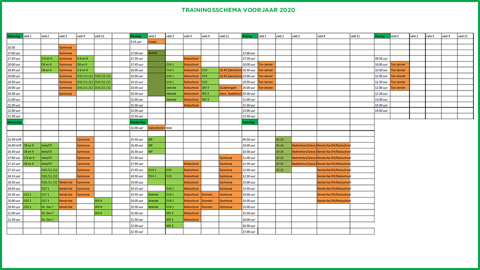 Trainingsschema 2019 - 2020