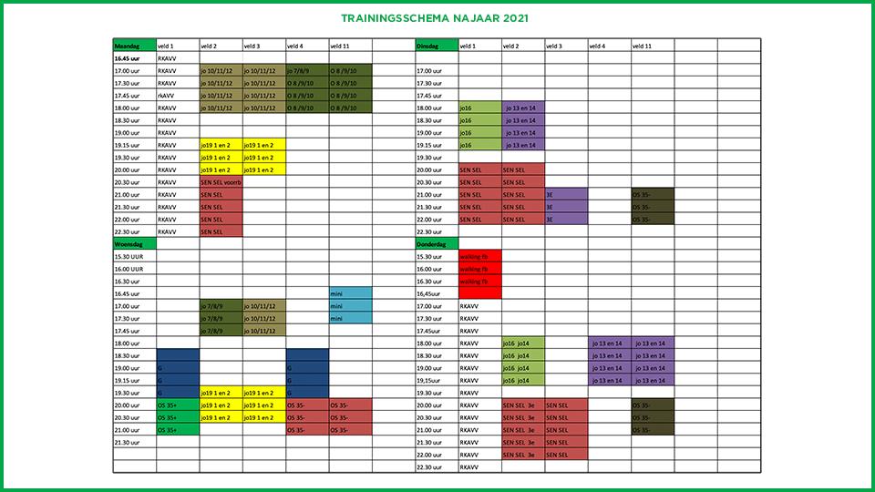 Trainingsschema 2021 - 2022